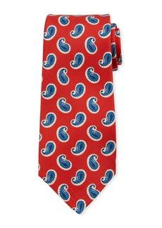 Kiton Large-Pine Silk Tie  Red