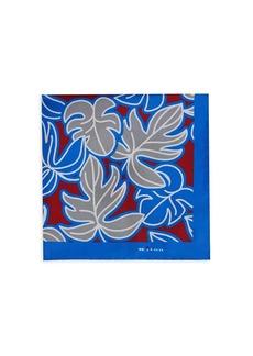 Kiton Leaf-Print Silk Pocket Square