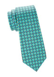 Kiton Lineare Square Print Silk Tie
