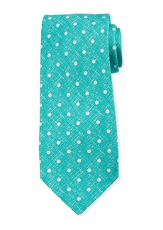 Kiton Linen-Look Dot Silk Tie  Mint