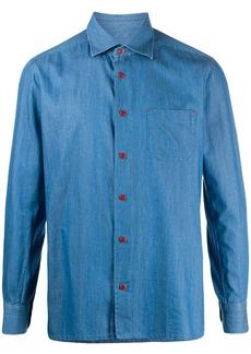 Kiton logo button denim shirt