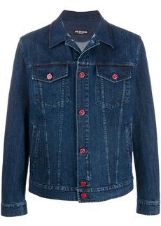 Kiton logo-embroidered denim jacket