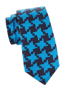 Kiton Magnified Houndstooth Silk Tie