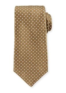 Kiton Medium Dots Silk Tie  Tan