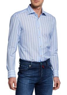 Kiton Men's Alternate-Stripe Dress Shirt