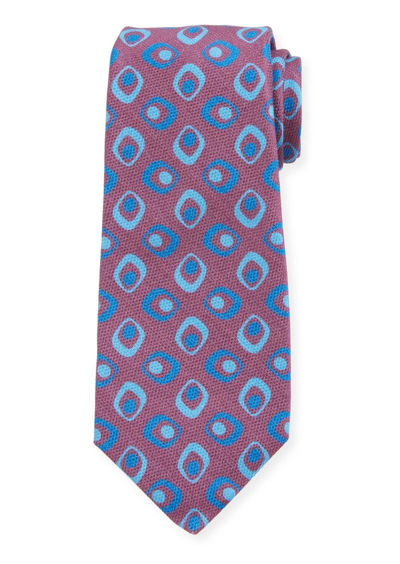 Kiton Men's Art Deco Squares Silk Tie  Red