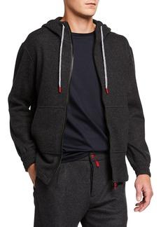 Kiton Men's Cashmere-Blend Jersey Hoodie Jacket