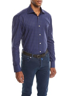 Kiton Men's Check Cotton Shirt