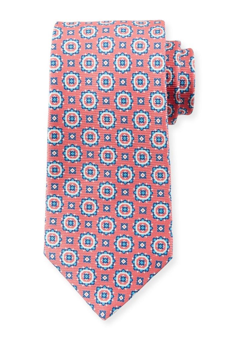 Kiton Men's Circle Medallions Tie  Pink