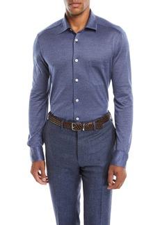 Kiton Men's Cotton Herringbone Shirt