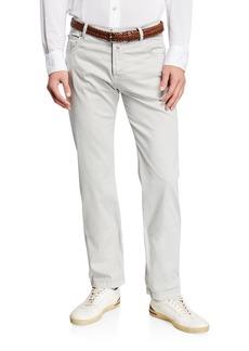Kiton Men's Cotton/Silk Stretch Straight-Leg Pants
