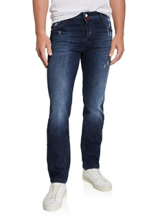 Kiton Men's Distressed Overstitch Jeans