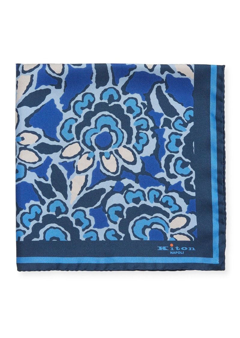 Kiton Men's Floral Silk Pocket Square