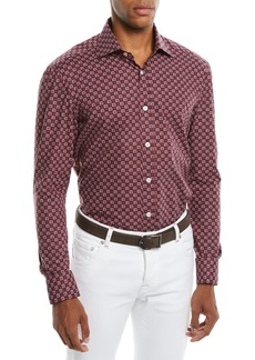 Kiton Men's Geometric-Print Cotton Sport Shirt