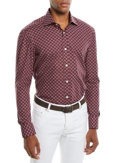 Kiton Men's Geometric-Print Cotton Sport Shirt