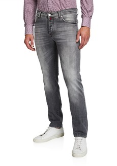Kiton Men's Gray-Washed Distressed Jeans