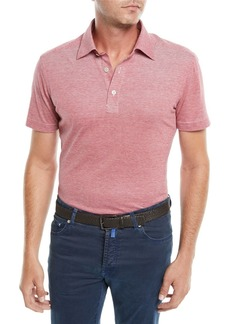 Kiton Men's Heathered Oxford Polo Shirt