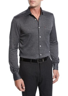 Kiton Men's Herringbone Knit Long-Sleeve Sport Shirt