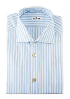 Kiton Men's Large Bengal Striped Dress Shirt