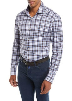 Kiton Men's Large-Check Cotton Shirt