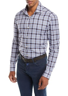 Kiton Men's Large-Check Cotton Shirt