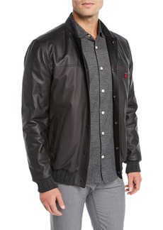 Kiton Men's Leather Bomber Jacket