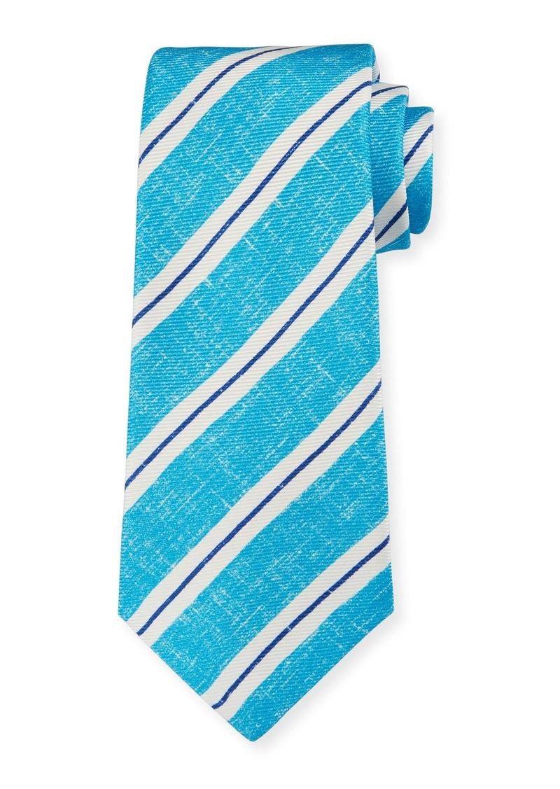 Kiton Men's Linen-Look Stripe Silk Aqua