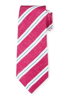 Kiton Men's Linen-Look Stripe Silk Tie  Berry