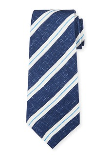 Kiton Men's Linen-Look Stripe Silk Tie  Navy
