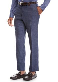 Kiton Men's Melange Stretch-Wool Flat-Front Pants