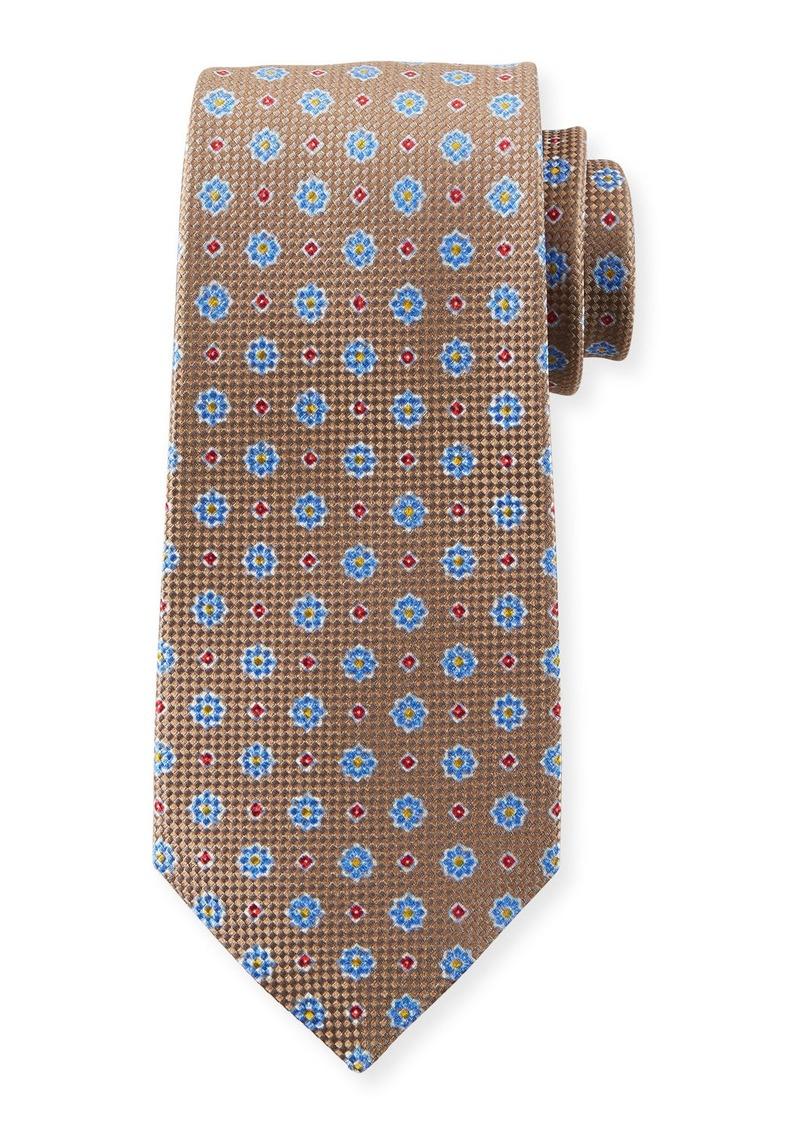 Kiton Men's Micro Flower Tie  Tan