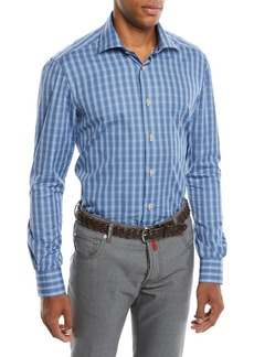 Kiton Men's Mulri Check Long-Sleeve Sport Shirt