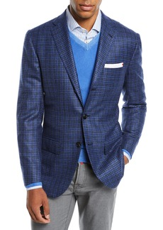 Kiton Men's Multi-Check Cashmere Sport Coat