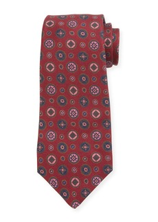 Kiton Men's Multi Medallions Silk Tie  Burgundy