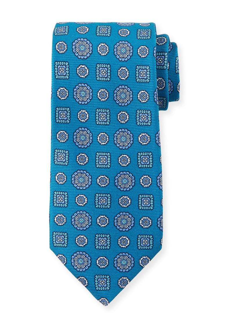Kiton Men's Multi Medallions Tie  Aqua