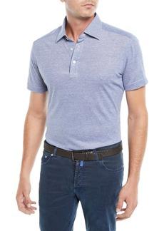 Kiton Men's Oxford Heathered Polo Shirt