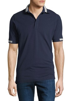 Kiton Men's Pique Knit Cotton Polo Shirt  Navy Blue