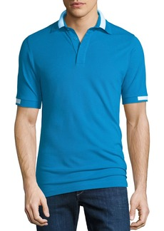 Kiton Men's Pique Knit Cotton Polo Shirt  Aqua Blue