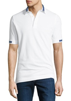 Kiton Men's Pique Knit Cotton Polo Shirt  White