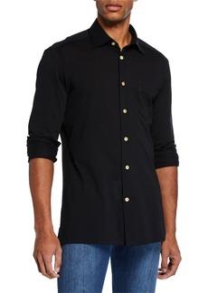 Kiton Men's Pique Pocket Sport Shirt