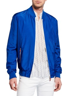 Kiton Men's Sateen Bomber Jacket  Royal Blue