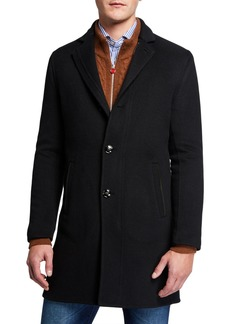 Kiton Men's Soft Cashmere Elbow-Patch Topcoat