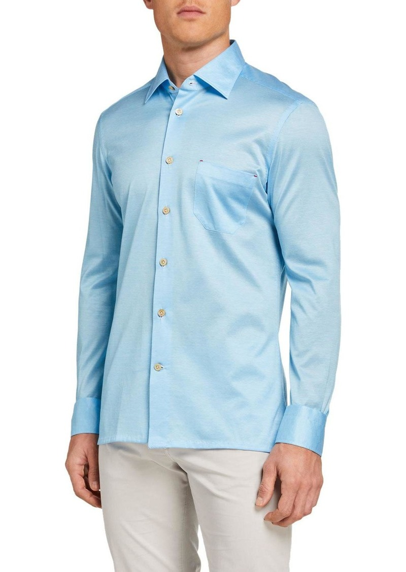 Kiton Men's Solid Jersey Sport Shirt