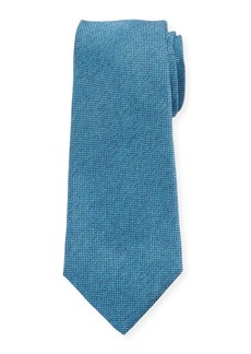 Kiton Men's Textured Solid Silk Tie  Aqua