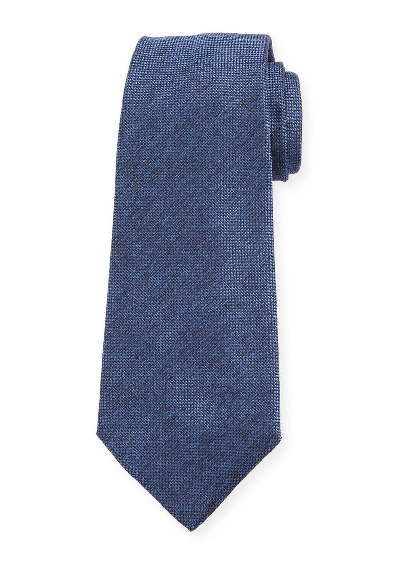 Kiton Men's Textured Solid Silk Tie  Blue