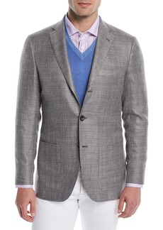 Kiton Men's Textured Weave Three-Button Blazer