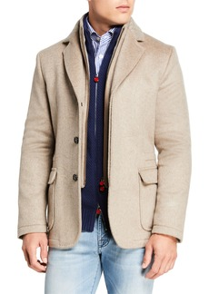 Kiton Men's Three-Button Jacket w/ Zip-Front Bib