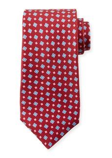Kiton Men's Tilted Squares Tie  Red