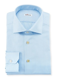 Kiton Men's Tonal Plaid Cotton Dress Shirt