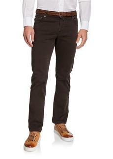 Kiton Men's Twill 5-Pocket Pants  Brown